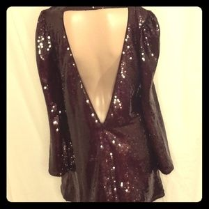 Burgundy Sequin Party Dress
